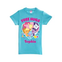 Personalized My Little Pony Free Hugs Aqua Fitted T-Shirt