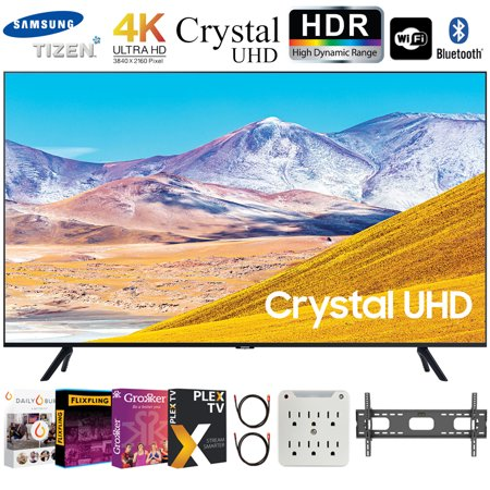 """Samsung UN55TU8000 55"""" 4K Ultra HD Smart LED TV (2020 Model) Bundle with Premiere Movies Streaming 2020 + 30-70 Inch TV Wall Mount + 6-Outlet Surge Adapter + 2x 6FT 4K HDMI 2.0 Cable"""