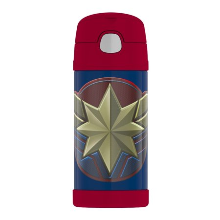 Thermos Funtainer Stainless Steel Water Bottle with Straw (12oz, Captain Marvel) (Thermos Straw Water Bottle)