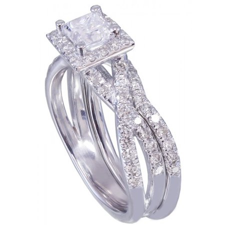 Cut Diamond Ring Band - 14k White Gold Princess Cut Diamond Engagement Ring And Band 1.25ct G-Vs2 Egl Us