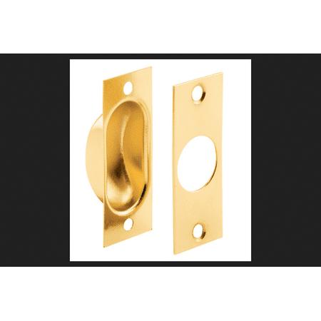 Slide-Co 163624 Pocket Door Finger Pull, Brass Plated with Screws