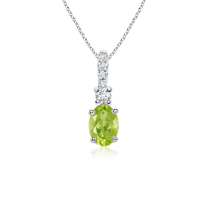 Angara Peridot Pendant Necklace Platinum