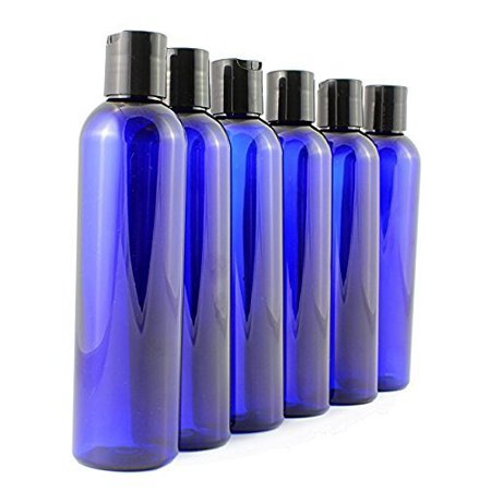 8 oz Empty Cobalt Blue Plastic Cosmo Squeeze Bottles with Disc Top Flip Cap (6 pack); BPA-Free Containers For Shampoo, Lotions, Liquid Body Soap, Creams (8 ounce,