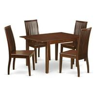 East West Furniture MLIP5-MAH-W 5 Piece Kitchen Nook Dining Set