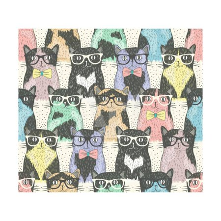 Cherry Blossom Coat (Seamless Pattern with Hipster Cute Cats for Children Print Wall Art By cherry blossom girl)