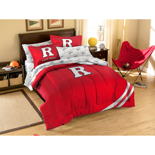NCAA Applique Bedding Comforter Set with Sheets, Rutgers University