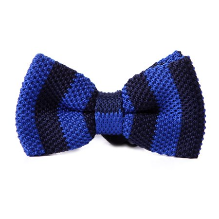 Satin Stripe Woven Tie (HDE Mens Pre-tied Bowtie Vintage Fashion Adjustable Woven Waffle Knit Bow Tie (Deep Blue Stripe))