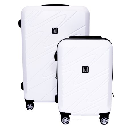 FUL Scribble Nested 2 Piece Luggage Set, Spinner Rolling Luggage Suitcases, 29in, and 21in Sizes, ABS Hard Cases, - White Suitcase
