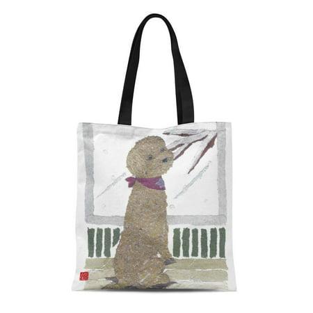 ASHLEIGH Canvas Tote Bag Brown Red Poodle Reusable Handbag Shoulder Grocery Shopping Bags](Poodle Purses)