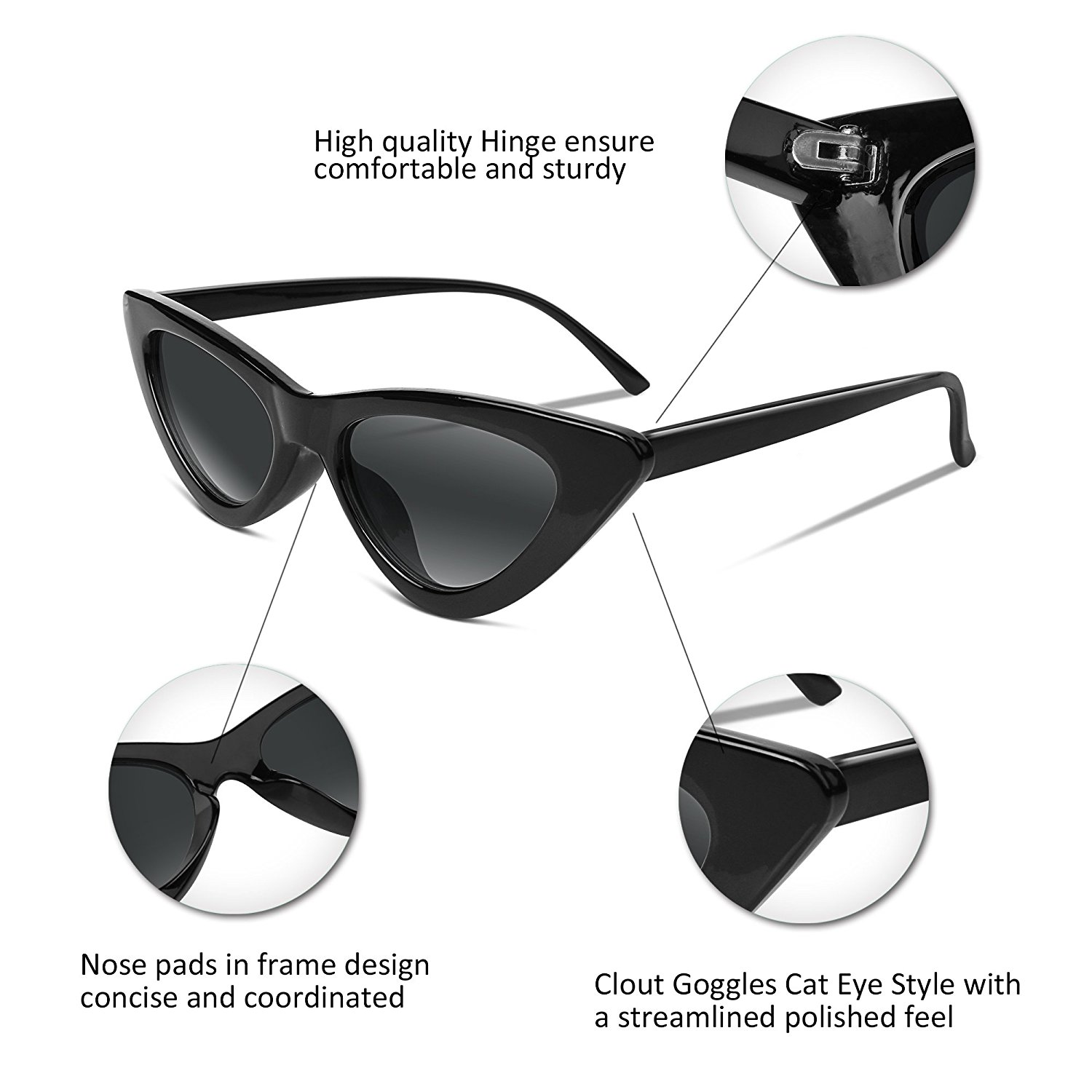 d8e10a58ba MJEWELRYGIFT - Retro Cat Eye Sunglasses Kurt Cobain Clout Goggles Triangle  Frame B2248 - Walmart.com