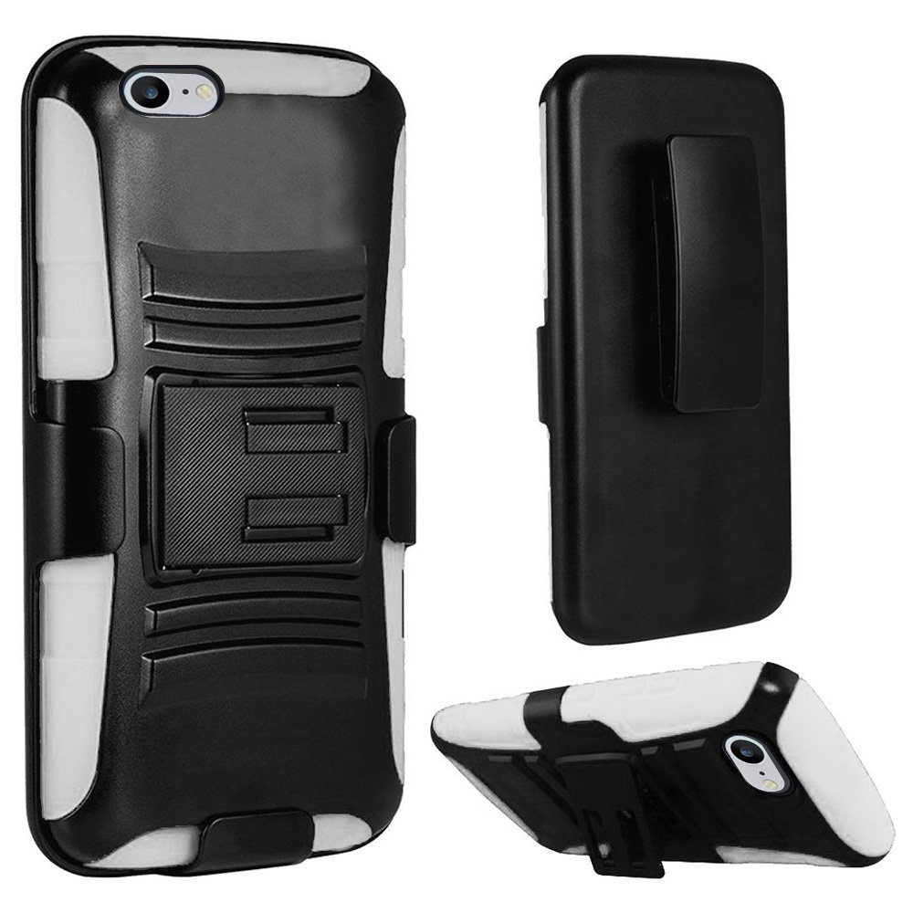 iPhone 7 Case, Rugged TUFF Hybrid Armor Full Body Defender Case with Tempered Glass Screen Protector for iPhone 7 - Black/ White, Slim, Rotating Belt Clip Holster, 9H Tempered Glass