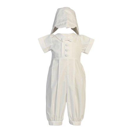 Baby Boys White Cotton Long Romper Hat Baptism Christening Set 0-18M