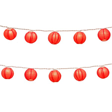 Set of 10 Traditional Red Paper Lantern Christmas Lights - White Wire