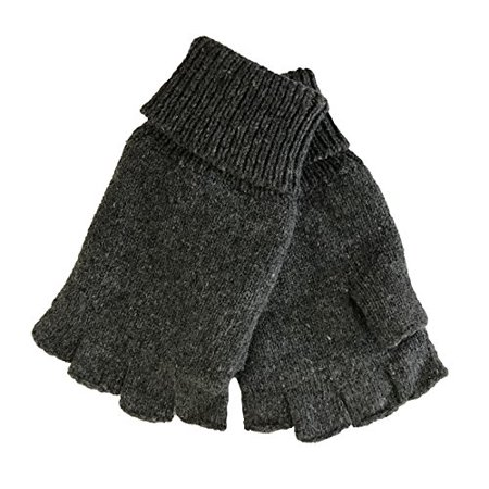 - Mens Fingerless Ragg Wool Gloves With Inner Fleece Palm Lining (L/XL, Charcoal)