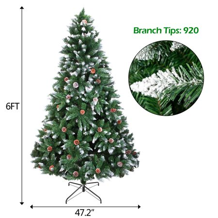 Zimtown Artificial Christmas Tree 6 feet with Flocked Snow,52Pine Cone,920 Branches ()