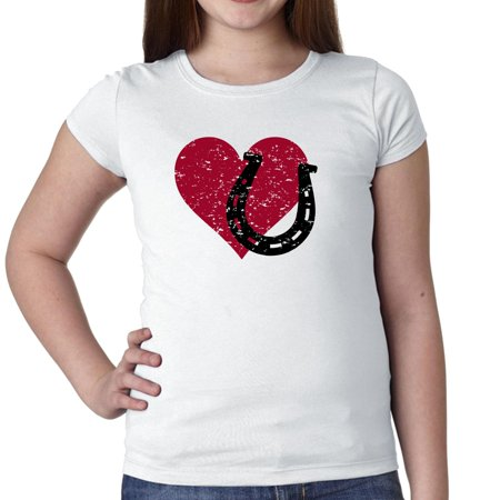 Heart & Horseshoe - Equestrian Love Horses Girl's Cotton Youth T-Shirt (Youth Horse)