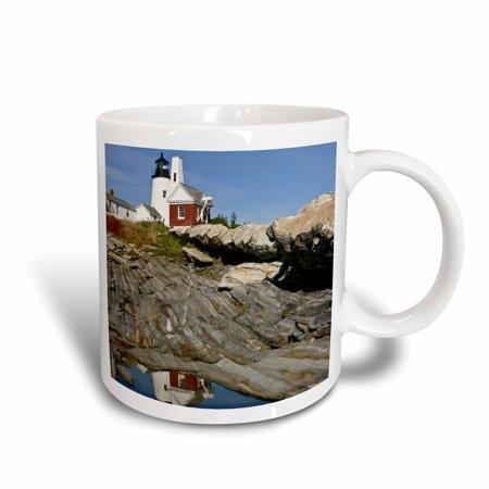3dRose USA, Maine. Pemaquid Lighthouse and rocky coast - US20 BTH0001 - Brenda Tharp, Ceramic Mug, 15-ounce