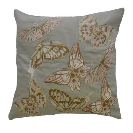 Av Home Butterfly Embroidered Linen Throw Pillow