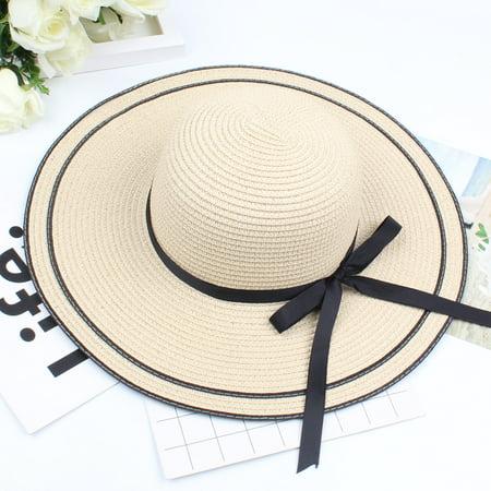 Women Straw Hat Contrast Bowknot Color Block Large Wide Brim Foldable Floppy Casual Sun Summer Beach Cap ()