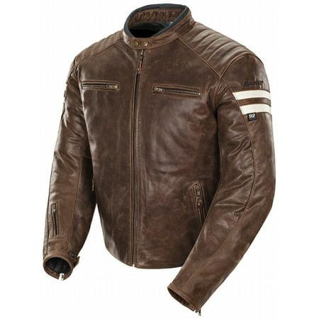 joe rocket classic '92 men's leather motorcycle jacket (brown/cream, medium) Joe Rocket Racing Leathers