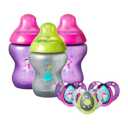 - Tommee Tippee Closer to Nature Boldly Go Gift Set, Girl, 6-Pack – 9-Ounce Baby Bottles & 6-18 month Pacifiers