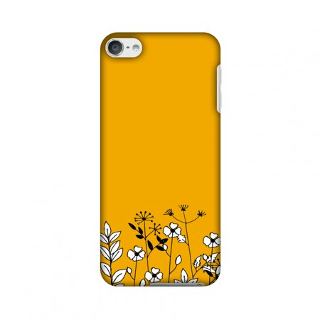 iPod Touch 6th Gen Case - Floral Bunch- Mustard, Hard Plastic Back Cover, Slim Profile Cute Printed Designer Snap on Case with Screen Cleaning Kit
