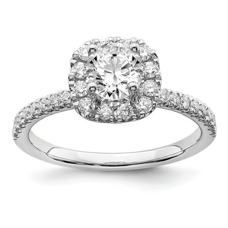 Lab Grown Diamond Ring 14k White Gold Round Cut Lab Created Diamond Diamond Halo Engagement Ring Size