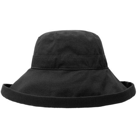 Women's Cotton Summer Beach Sun Hat with Wide Fold-Up Brim - Canvas Cotton Wide Brim Hat