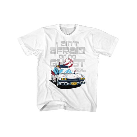 White Teen Boy (The Real Ghostbusters TV Series Aint Afraid White Toddler Little Boys TShirt)
