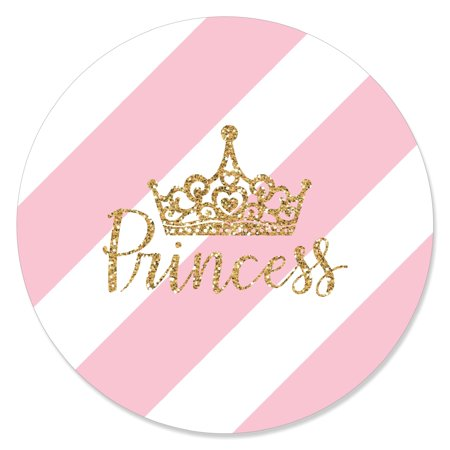 Disney Princess Baby Shower (Little Princess Crown - Pink and Gold Princess Baby Shower or Birthday Party Circle Sticker Labels - 24)