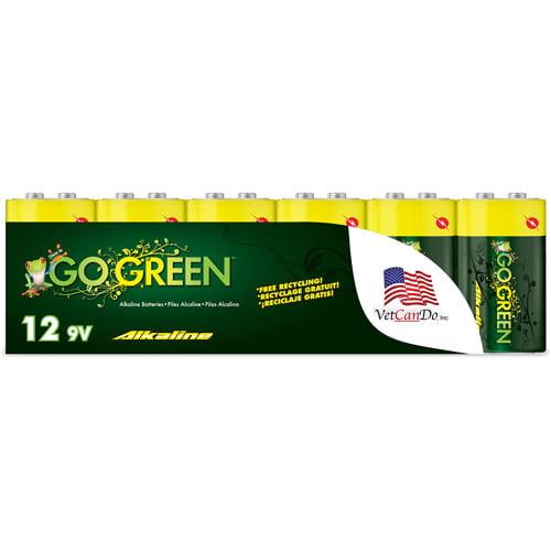 Go Green Alkaline 9V Batteries, 12pk