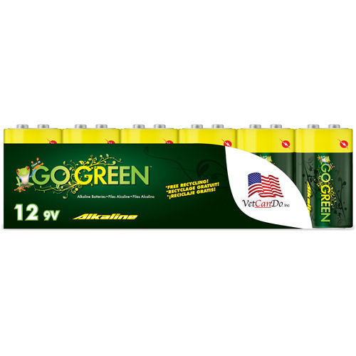 Go Green Alkaline 9V Batteries, 12pk