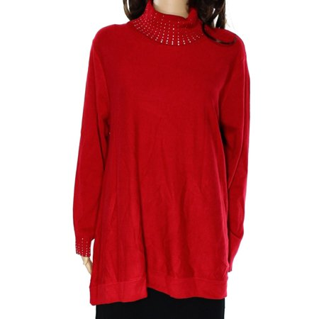 Alfani NEW Red Amore Women's Size Small S Embellished Turtleneck