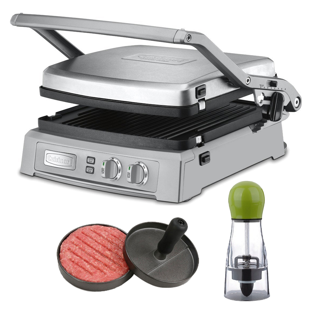 Cuisinart Griddler Deluxe - Brushed Stainless (GR-150) with Carteret Twist And Spice Manual Spice Mill and Carteret Professional Burger Press Patty Maker