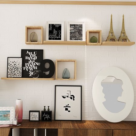 Set of 6 Home Display Floating Wall Mounted Shelves - Natural Wood Brown