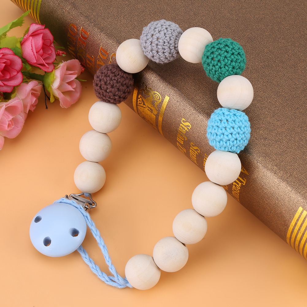 Yosoo Infant Pacifier Soother Holder Crochet Wooden Beads Chain Metal Clip Baby Shower Feeding Toy, Pacifier Strap, Pacifier Clip Chain