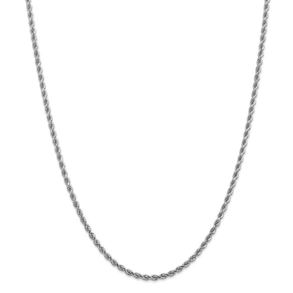 2.9mm, 14k White Gold, Diamond Cut Solid Rope Chain Necklace, 30 Inch by Black Bow Jewelry Company