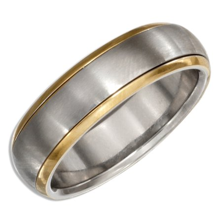 STAINLESS STEEL AND GOLD COLOR SPINNER BAND RING ()