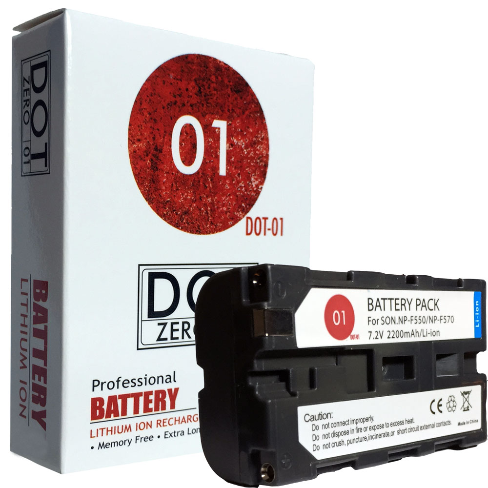DOT-01 Brand 2200 mAh Replacement Sony NP-F550 Battery for Sony HXR-MC2500 Camcorder and Sony F550