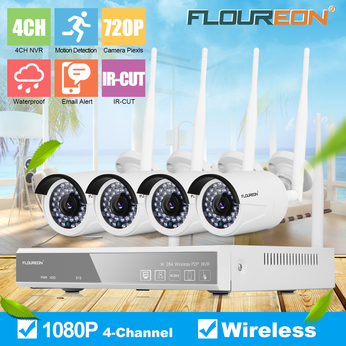 4CH 1080P// 720P Wireless DVR Wifi IP Camera HD CCTV Home Security Video System
