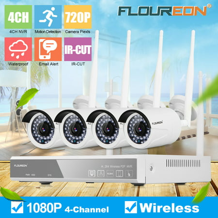 Security Camera System Wireless,FLOUREON 4CH 1080P Wirelese Home Security System - 4pcs 1080P Outdoor/Indoor IP Cameras,P2P,65ft Super Night Vision,Easy Remote View for CCTV