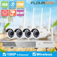 Wirelss Security Camera System,Floureon 4CH 1080P HD Video Security System,4pcs 720P Wirelss Weatherproof IP Cameras,Plug and Play,Super Night Vision,Easy Remote View