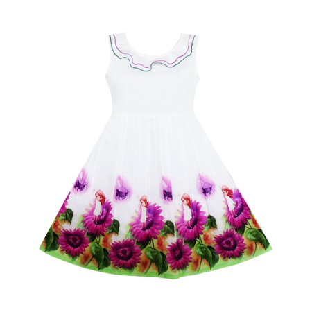 21847ab1c Sunny Fashion - Girls Dress Sunflower Garden Turn-down Collar ...