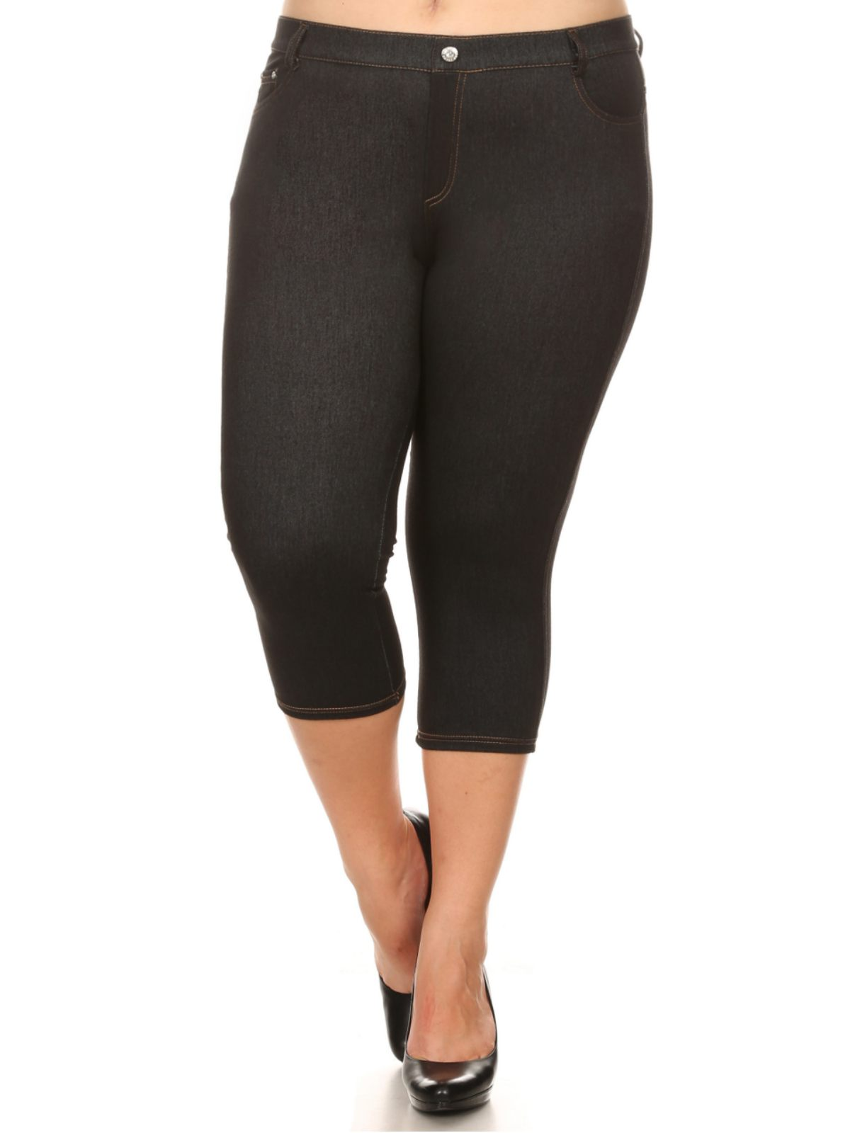 Yelete Plus Size French Knit Capri Jeggings with Faux Fly and Contrast Stitching