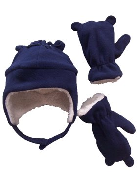 NICE CAPS Toddler Boys and Baby Warm Sherpa Lined Micro Fleece Hat and Mitten Cold Weather Winter Snow Headwear Accessory Set with Ears - Fits Little Kids and Infant Sizes