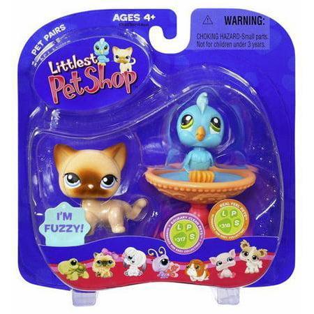 Littlest Pet Shop Pet Pairs Blue Bird & Cat Figure 2-Pack [Birdbath] (Littlest Pet Shop Shorthair Cats)
