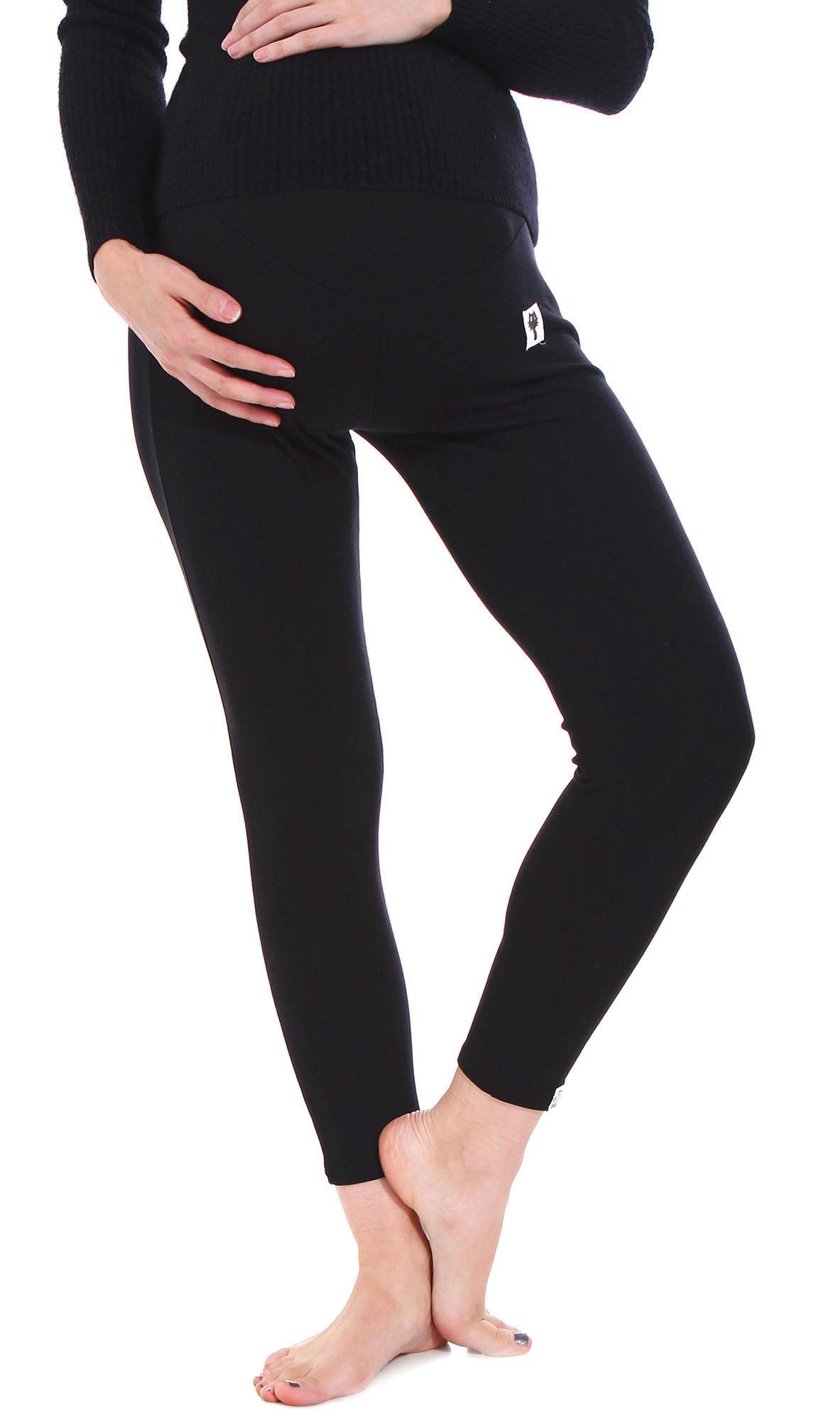 Fit Stretch Over Bump Maternity Pregnancy Leggings, 3025_Black