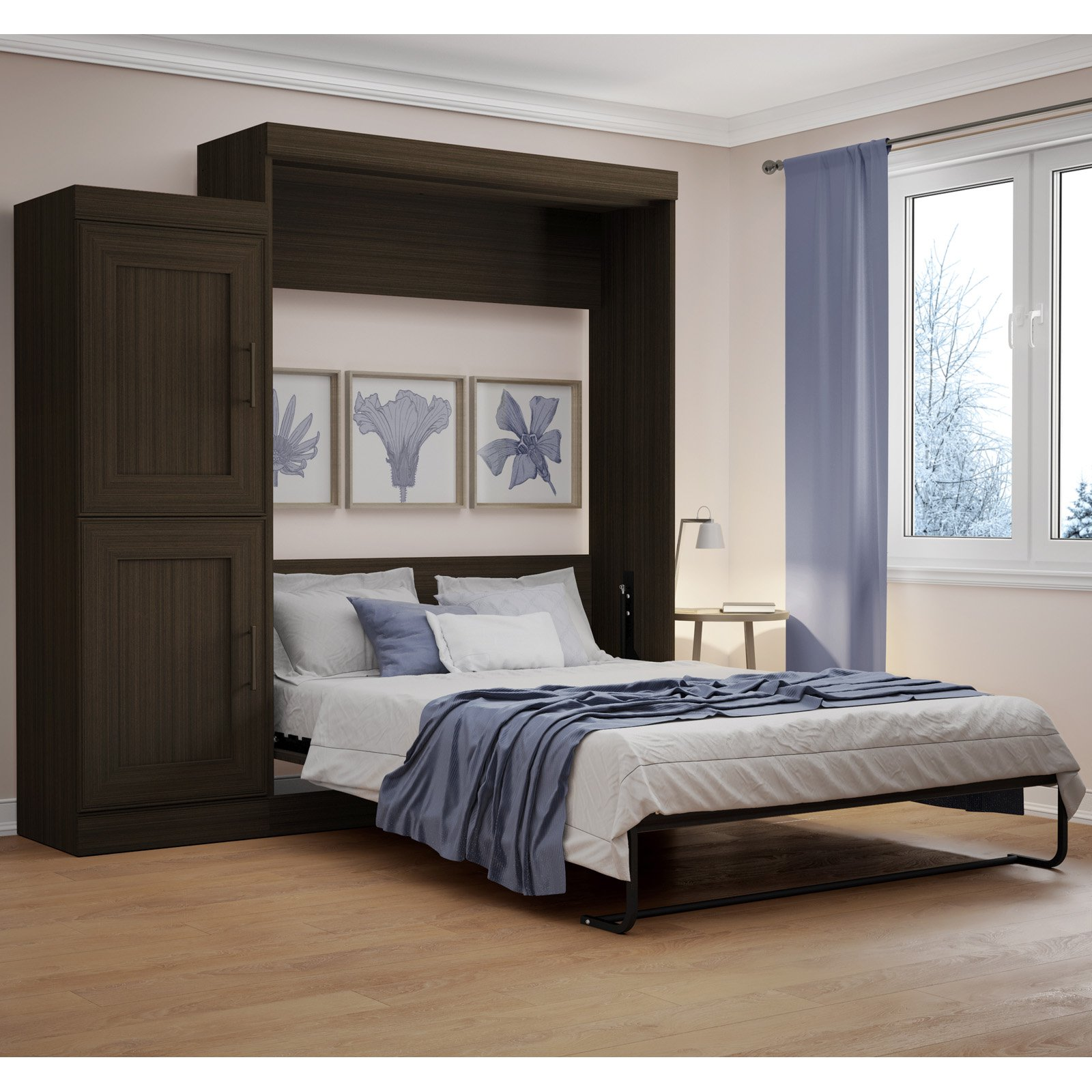 Bestar Edge Murphy Bed with 2 Door Storage Unit - Queen