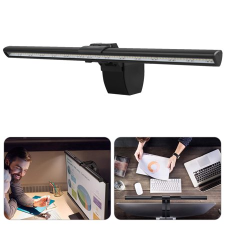 EEEKit Screenbar E-Reading Light,LED Laptop Lamp,No Flicker,Computer Led Light with Adjustable Brightness and Hue Adjustment Features, Matte Black USB Powered Office Lamp