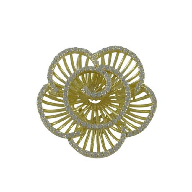 Dlux Jewels Gold Plated Sterling Silver 37 mm Flower with White Cubic Zirconia Brooch-Pin by Dlux Jewels